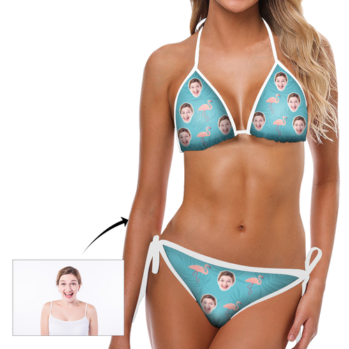 Custom Head Photo Flamingo and Blue Background Sexy Bikini Suit