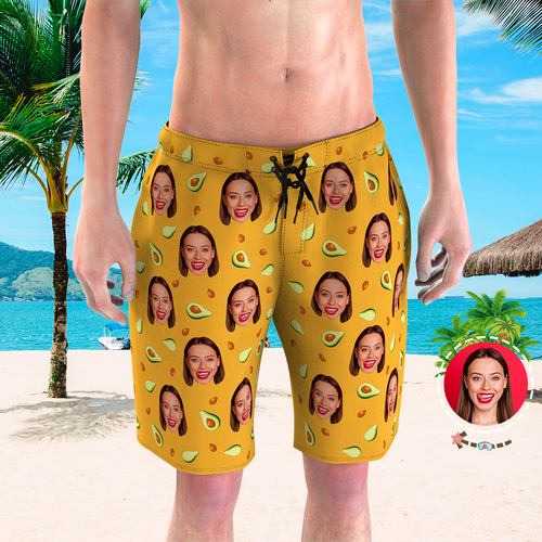 Men's Custom Face Beach Trunks Photo Shorts - Avocado