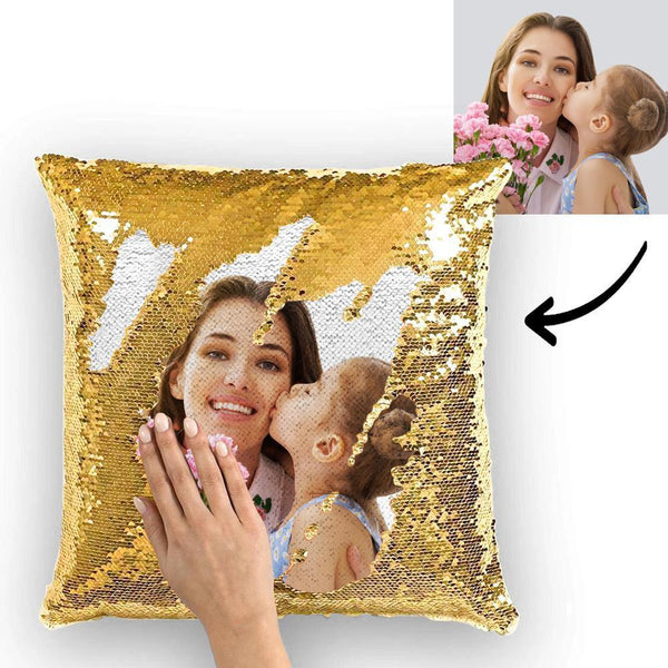 Custom Photo Reversible Magic Sequin Cushion Pillow for Mom 15.75inch*15.75inch