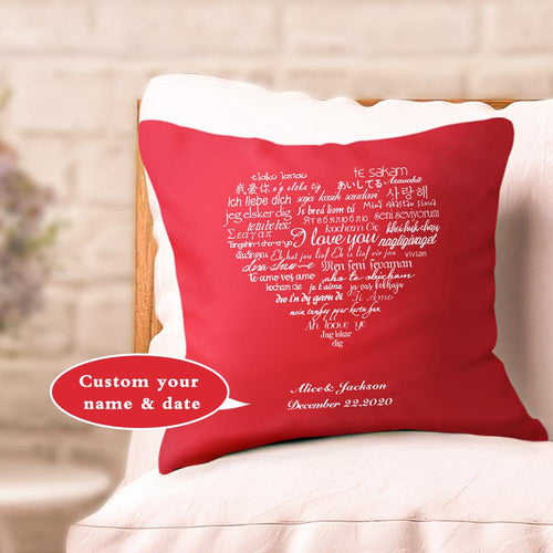 Custom Couple Pillows Gift I Love You Multiple Languages