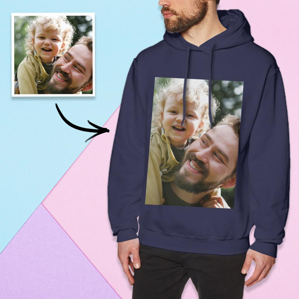 Custom Long Sleeve Photo Pullover Hoodie Men's Hoodie Sweatshirt Father And Daughter
