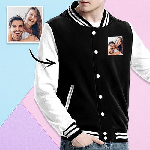 Custom Couple Photo Sweatshirt Baseball Uniform Jacket Sport Coat Unisex