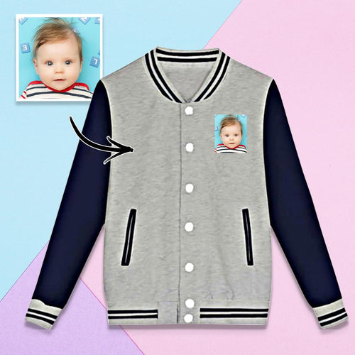 Custom Baby Photo Sweatshirt Baseball Uniform Jacket Sport Coat Unisex