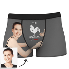 Men's Custom Girlfriends Love Hug Stripe Boxer Shorts With Text