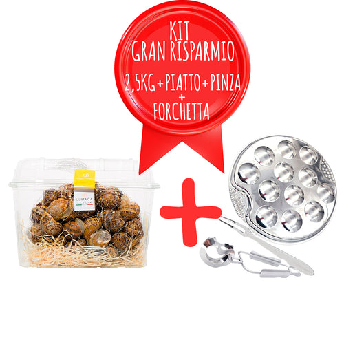 KIT GRAN RISPARMIO 2,5 KG LUMACHE + PIATTO ESCARGOT + PINZA ESCARGOT + FORCHETTA ESCARGOT