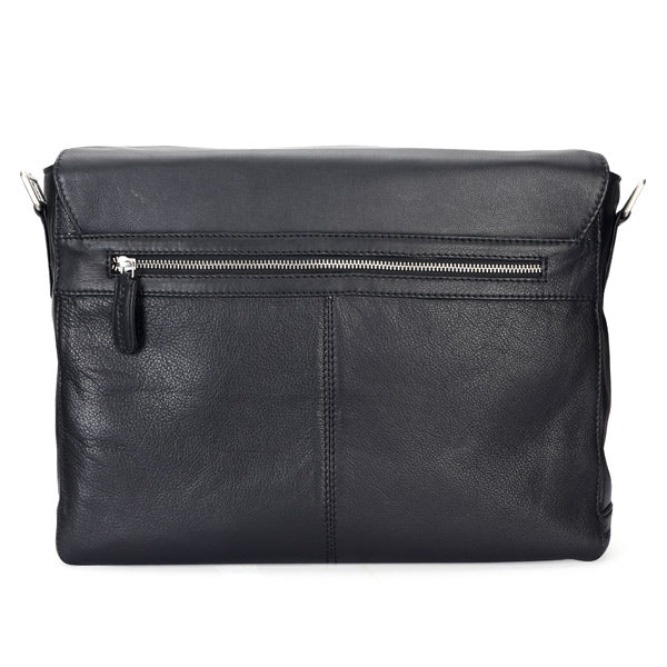 Leather Messenger Bag in Black Color