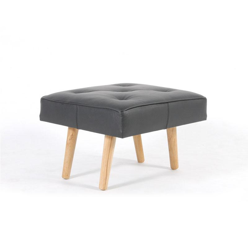 Leather upholstery with button square stool with wooden Legs - Deszine Talks
