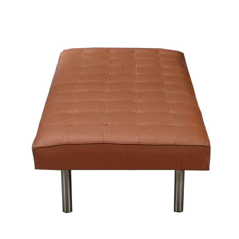 Daybed, Tan-colored leather with steel legs - Deszine Talks