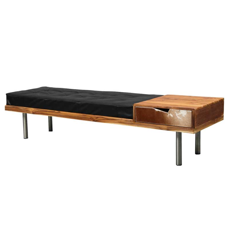 Teak and leather bench / entrance furniture with steel legs