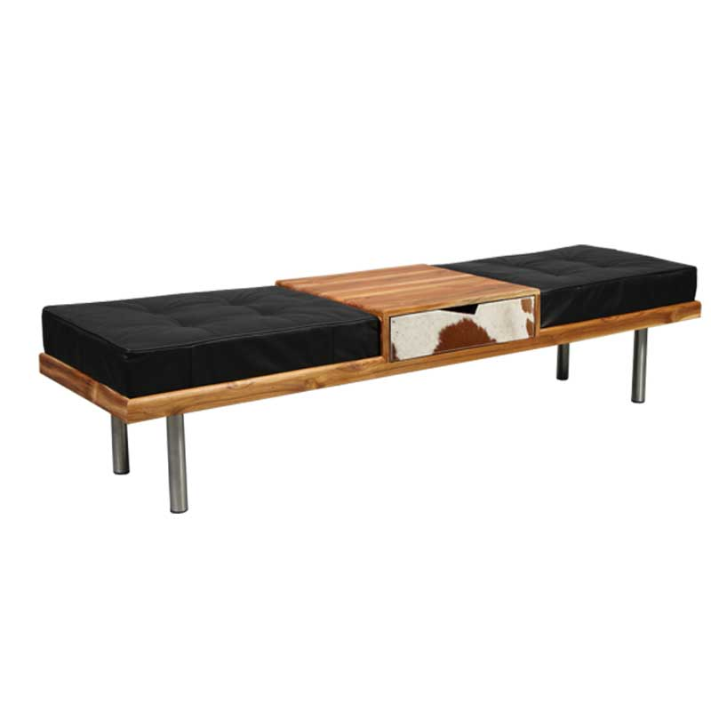 Bench / hall furniture with leather cushion and steel legs - Deszine Talks