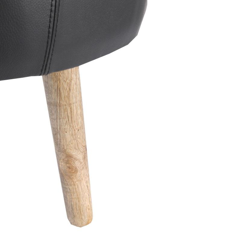 Leather upholstery round stool with wooden Legs - Deszine Talks