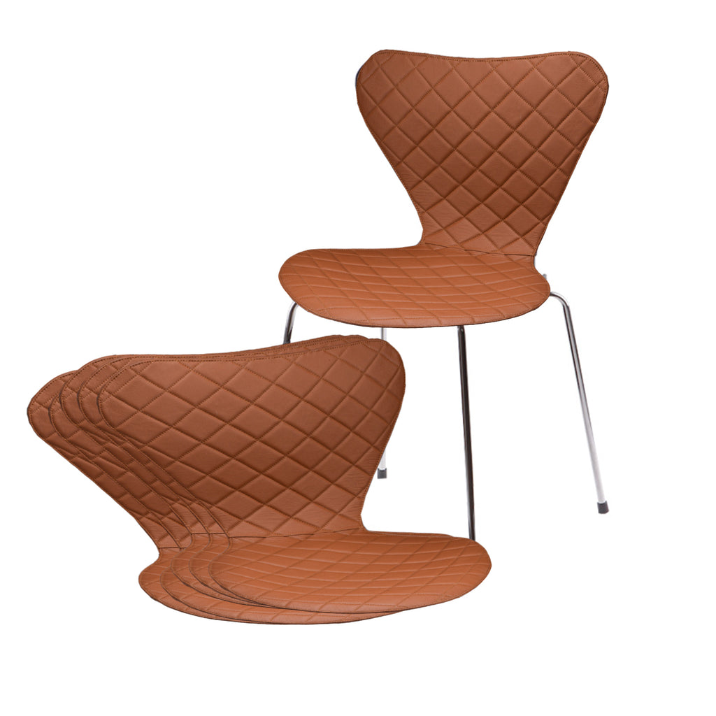 Leather Zic Zac covers for Arne Jacobsen's 3107/3207 chairs