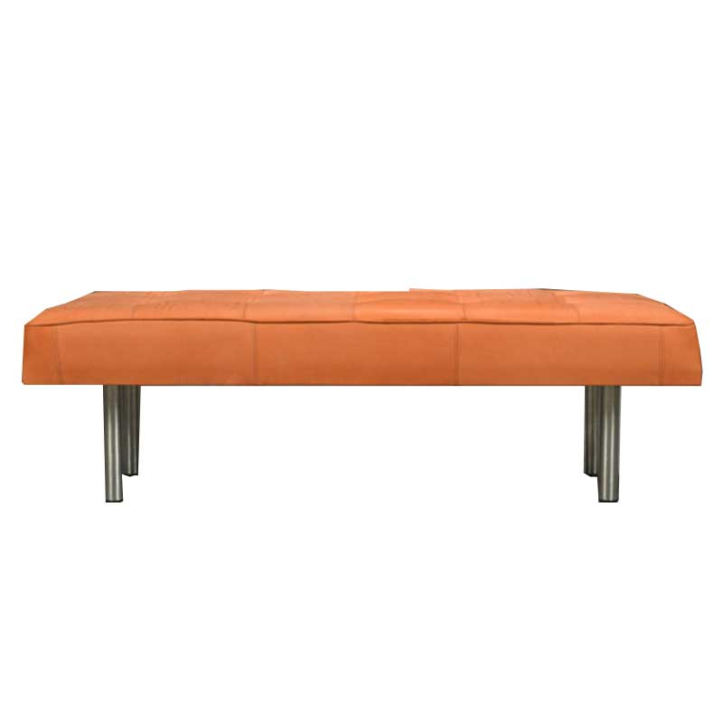 Upholstery Leather Bench, Cognac color