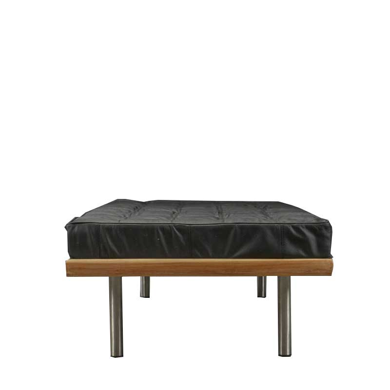 Daybed made of exotic hardwood, black leather - Deszine Talks