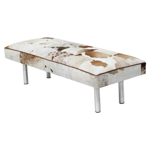 Bench in Cowhide Multi Color with Steel Legs - Deszine Talks