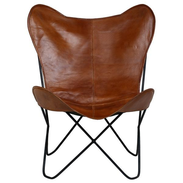 Butterfly Chair in Tan Color Leather - Deszine Talks