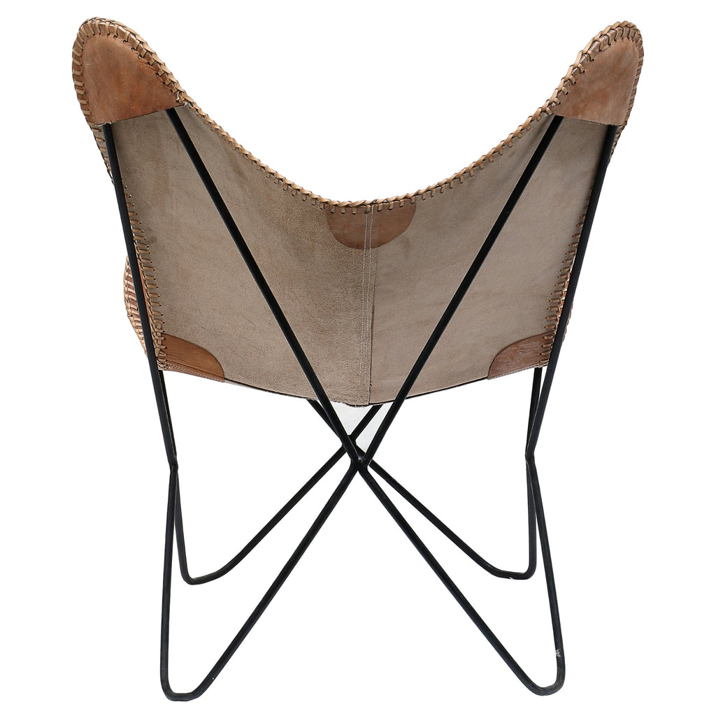 Butterfly Chair with Black Leather Seat - Deszine Talks