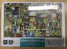 Cover of a puzzle box picturing a bizarre bookshop.