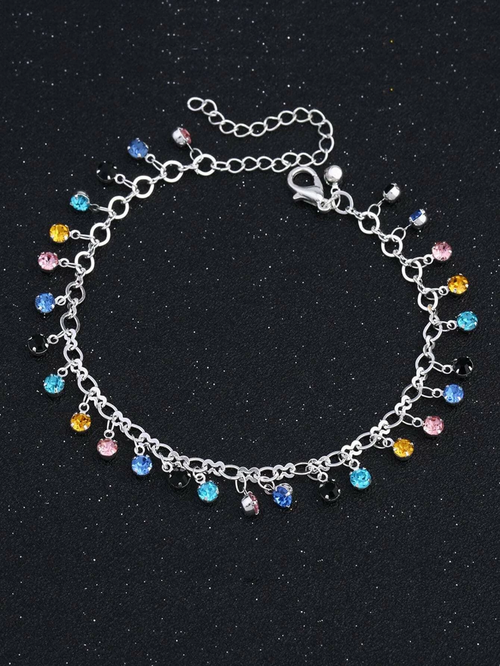 Mixed Rhinestone Charm Chain Anklet