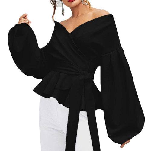 Wide V-Neckline Long Puffed Sleeve Blouse In White or Black