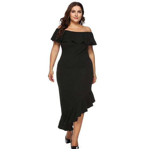 Plus-Ruffled Off The Shoulder A-Symmetrical Hem Dress In 2 Colors