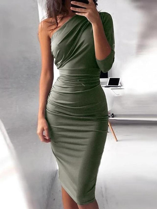Solid Colored Pleated High Waist One Shoulder Dress In 5 Colors