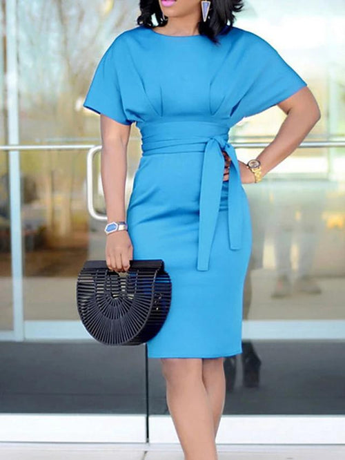 Decorative Cinched Tie Waist Sheath Dress In 5 Colors