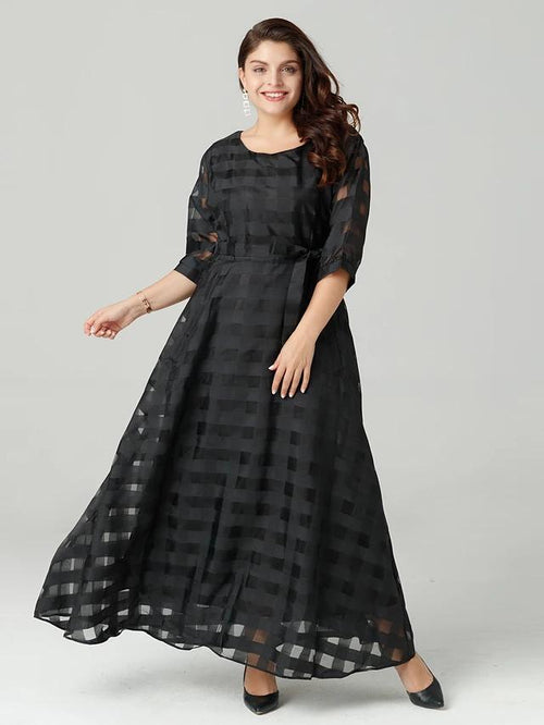 Plus- Sophisticated Maxi Loose Dress In Black