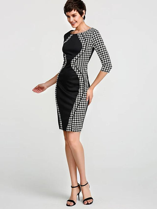 Slim Fit Hour Glass Pattern Dress In 5 Options