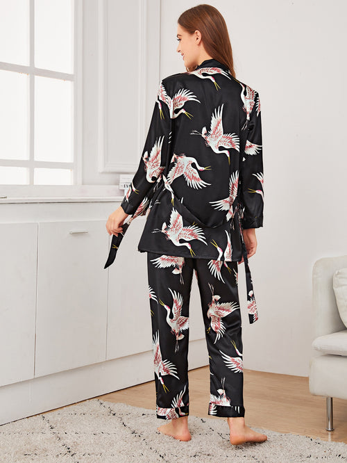 3 Piece Crane Print Satin Pajama Set With Belted Robe