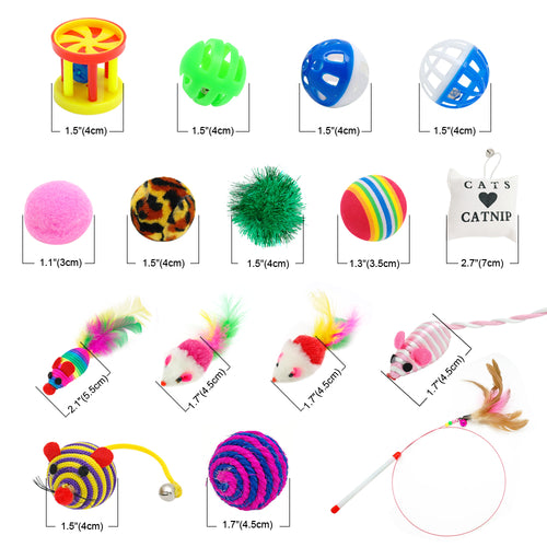 Cat Toys, 16 Piece Set with Feather Teaser