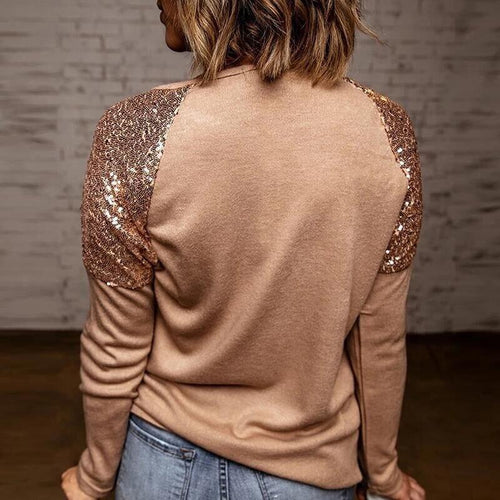 Long Sleeve Patchwork Sequins Blouse. Color Options