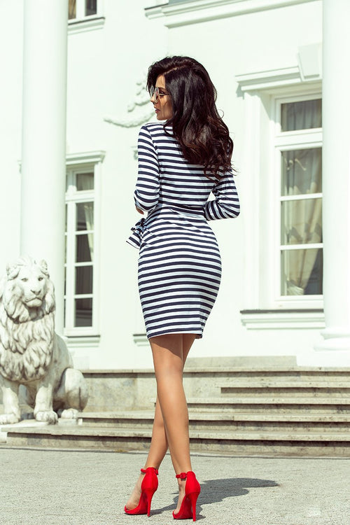 Navy Blue Striped Long Sleeve Short Dress With Sash Tie Waist