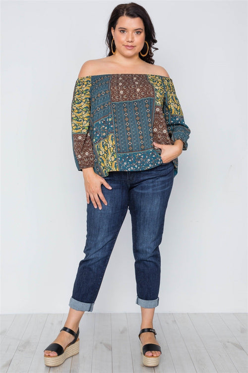 Plus-Off-Shoulder, Multi Print Top