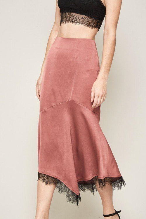 Solid Woven Mid-Calf Skirt With Lace Frill