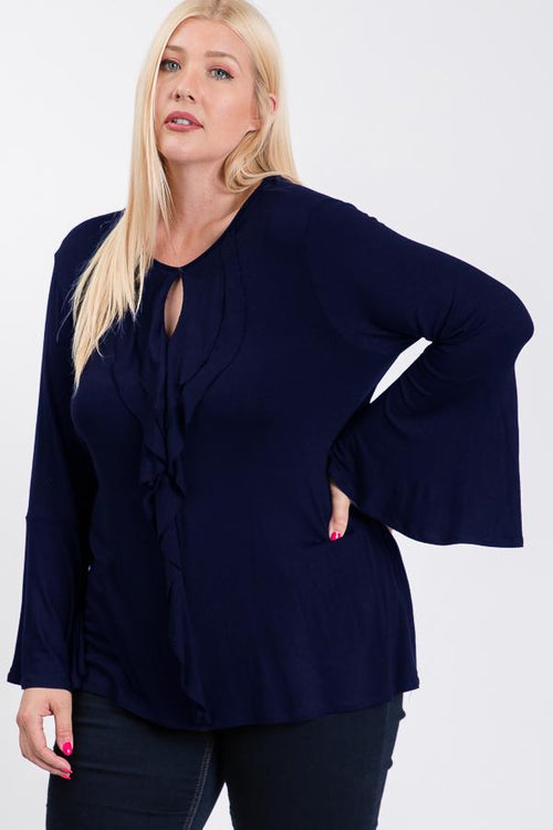 Plus-Long Bell Sleeve Ruffle Keyhole Top