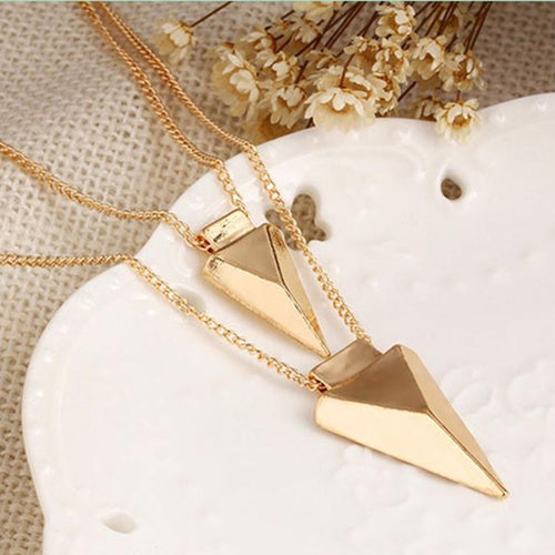 Arrowhead Shaped Pendant Gold Necklace In Set Of Two