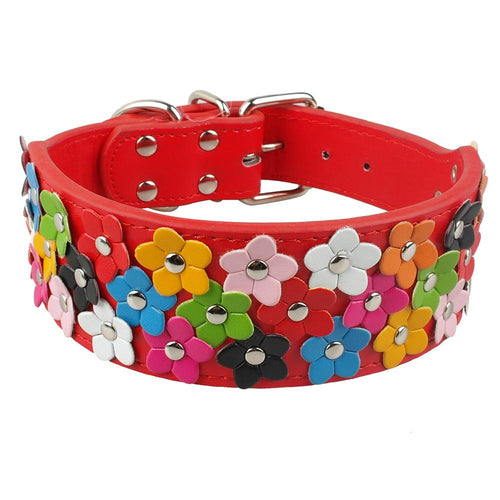 Flower Studded Pet Collars Leather