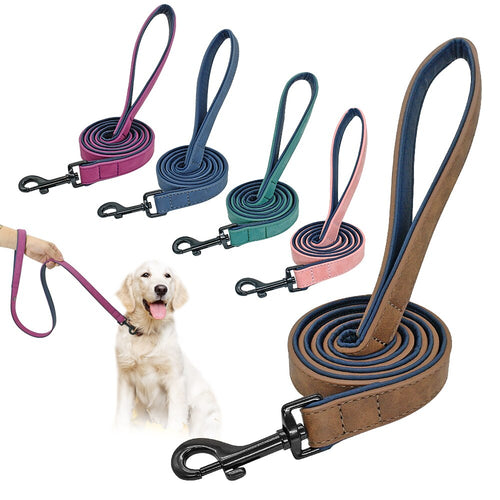 Leather Dog Leash 4 ft,  Double Layer