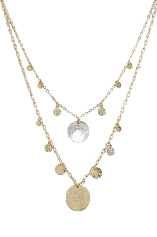 Pacific Princess Layered Shell Disc Necklace Set In 18Kt Gold