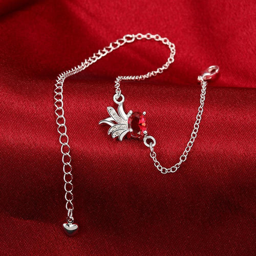 Ruby Pineapple Anklet in 18K White Gold
