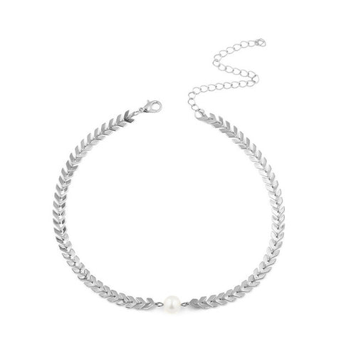Women's Gold or Silver Choker Necklace With Pearl