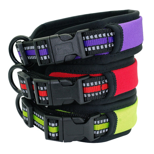 Wide Nylon Dog Collar Soft, Padded and Reflective