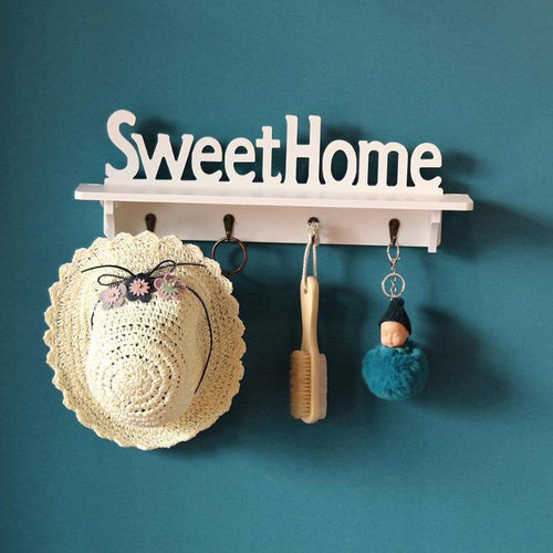Wood Shelves, Hat An Key Holder With 4 Hooks