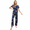 Floral Print Short Sleeve Top With Long Pants, Pajamas