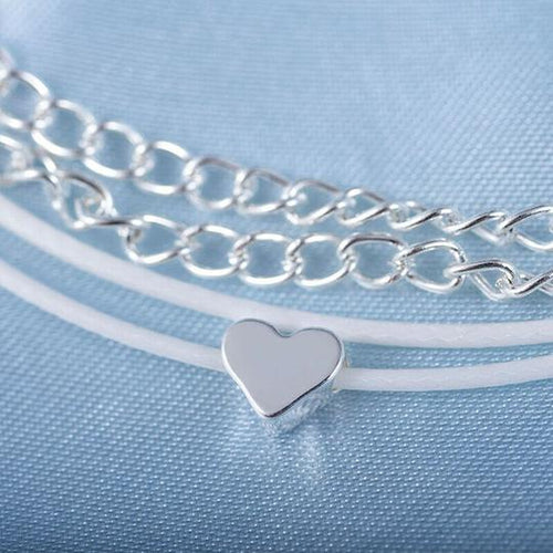 Bohemian Silver Heart, Multi Chain Anklet