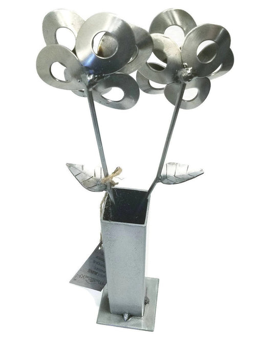 Steel Flowers and Vase, Welded Art, Home Decor