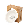 Pet Double Stainless Steel Or Ceramic Pet Bowls In Bamboo Frame