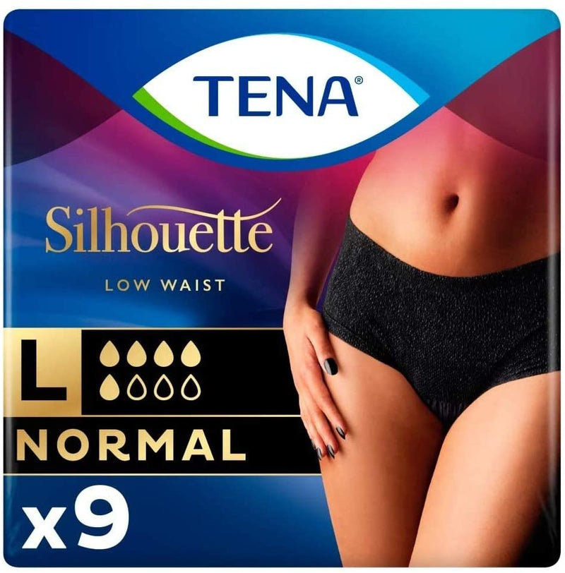 Tena Silhouette Normal Noir Large (6 Packs of 9)