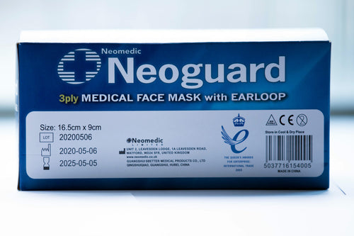 Neoguard 3 Ply Type IIR Surgical Masks Box of 50 x 5